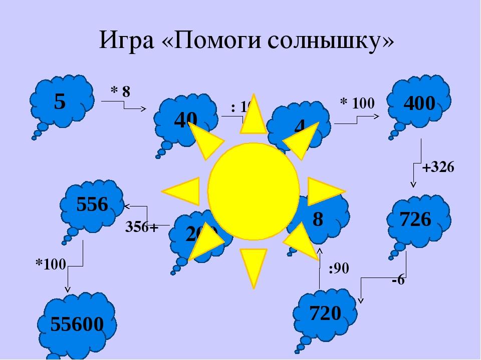 * 8 : 10 * 100 +326 -6 :90 25* 200 356+ *100 Игра «Помоги солнышку» 5 40 4 4...