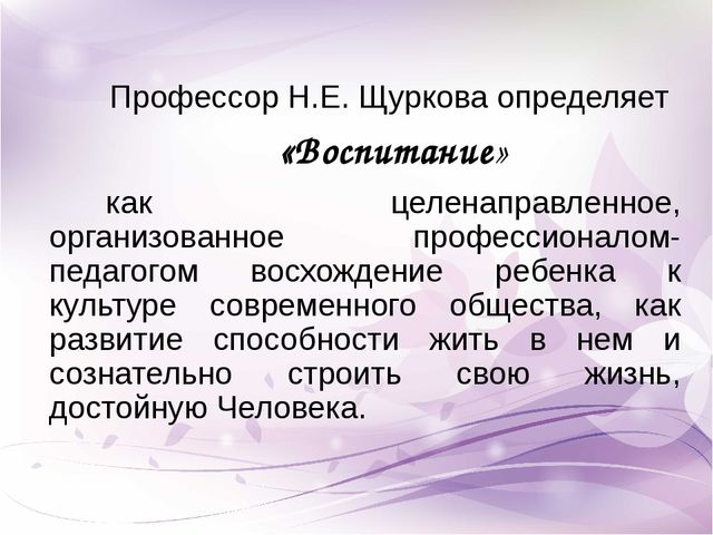 Профессор Н.Е. Щуркова определяет «Воспитание» как целенаправленное, организо...