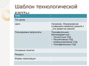 Шаблон технологической карты Тема Тип урока Цели Например .Формирование (сове