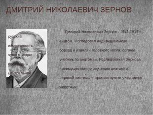 ДМИТРИЙ НИКОЛАЕВИЧ ЗЕРНОВ Дмитрий Николаевич Зернов - 1843-1917 г. - русский