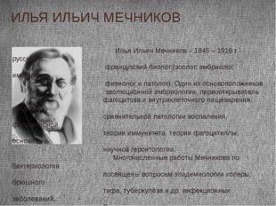 ИЛЬЯ ИЛЬИЧ МЕЧНИКОВ Илья Ильич Мечников – 1845 – 1916 г. - русский и французс