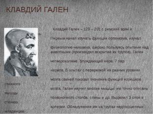 Клавдий Гален – 129 – 201 г, римский врач и естествоиспытатель. Первым начал