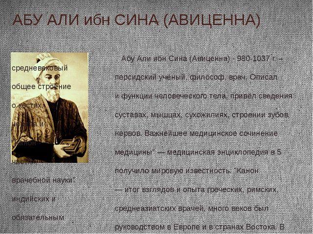 АБУ АЛИ ибн СИНА (АВИЦЕННА) Абу Али ибн Сина (Авиценна) - 980-1037 г. – средн...