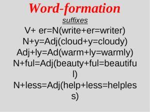 Word-formation suffixes V+ er=N(write+er=writer) N+y=Adj(cloud+y=cloudy) Adj
