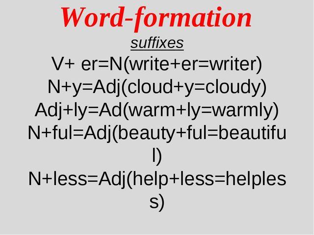 Word-formation suffixes V+ er=N(write+er=writer) N+y=Adj(cloud+y=cloudy) Adj...