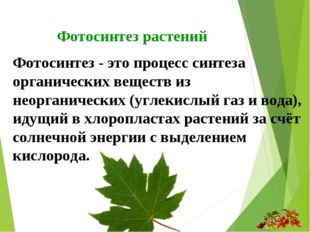 Фотосинтез растений Фотосинтез - это процесс синтеза органических веществ из