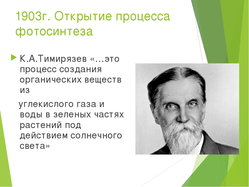 1903г. Открытие процесса фотосинтеза К.А.Тимирязев «…это процесс создания орг...