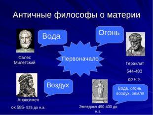 Античные философы о материи Первоначало Фалес Милетский Вода Анаксимен ок.585
