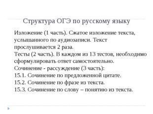 Структура ОГЭ по русскому языку Изложение (1 часть). Сжатое изложение текста,