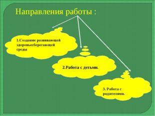 Направления работы : 1.Создание развивающей здоровьесберегающей среды 2.Работ