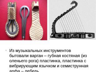 Из музыкальных инструментов бытовали варган – губная костяная (из оленьего р