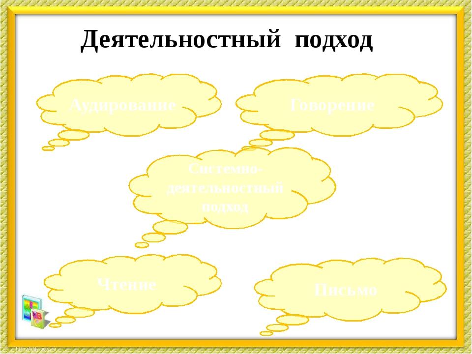 Деятельностный подход Чтение Аудирование Говорение Письмо Системно-деятельнос...