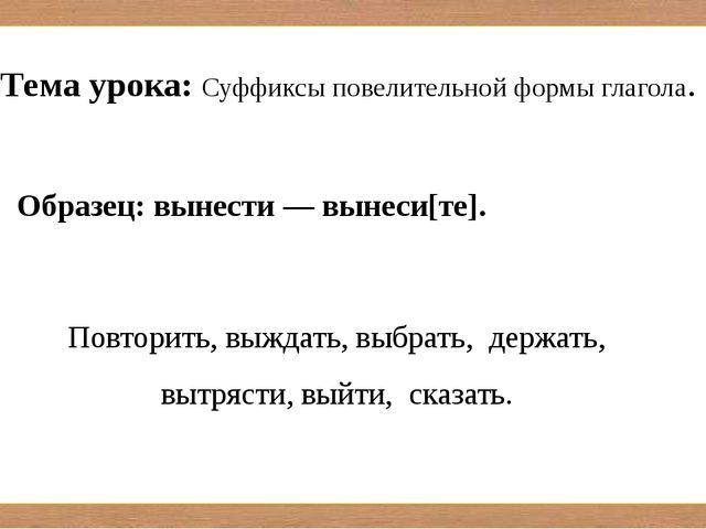Образец: вынести — вынеси[те]. Повторить, выждать, выбрать, держать, вытряст...