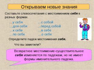 Открываем новые знания Составьте словосочетания с местоимением себя в разных