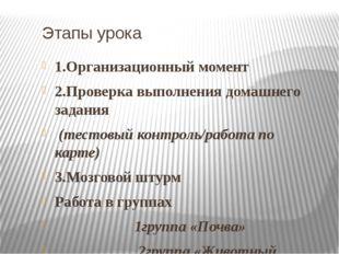 Этапы урока 1.Организационный момент 2.Проверка выполнения домашнего задания