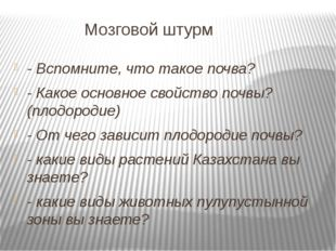 Мозговой штурм - Вспомните, что такое почва? - Какое основное свойство почвы