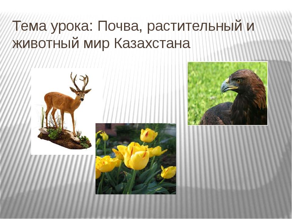 Тема урока: Почва, растительный и животный мир Казахстана