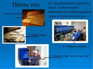 Почта это: это традиционное средство связи, позволяющее обмениваться информац