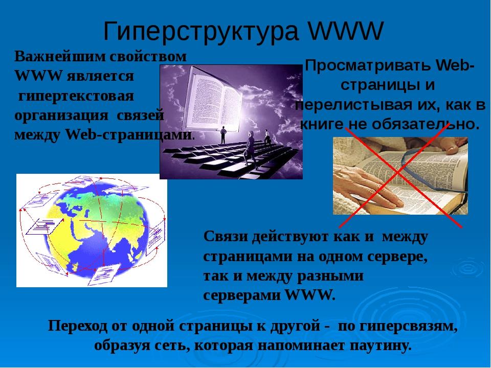 Гиперструктура WWW Просматривать Web-страницы и перелистывая их, как в книге...