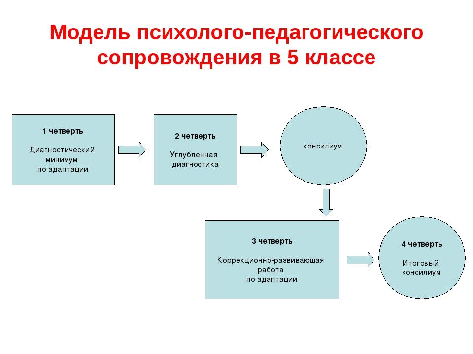 Модель психолого-педагогического сопровождения в 5 классе 2 четверть Углублен...