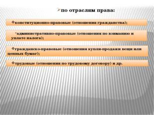 по отраслям права: конституционно-правовые (отношения гражданства); администр