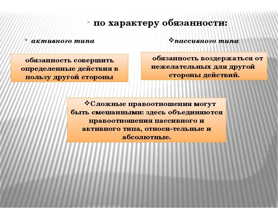 по характеру обязанности: активного типа пассивного типа обязанность совершит...