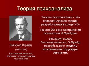 Теория психоанализа Зигмунд Фрейд (1856-1939) Австрийский психолог, психиатр,