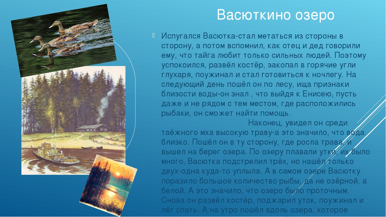 Васюткино озеро Испугался Васютка-стал метаться из стороны в сторону, а пото...