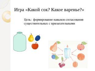Игра «Какой сок? Какое варенье?» Цель: формирование навыков согласования суще