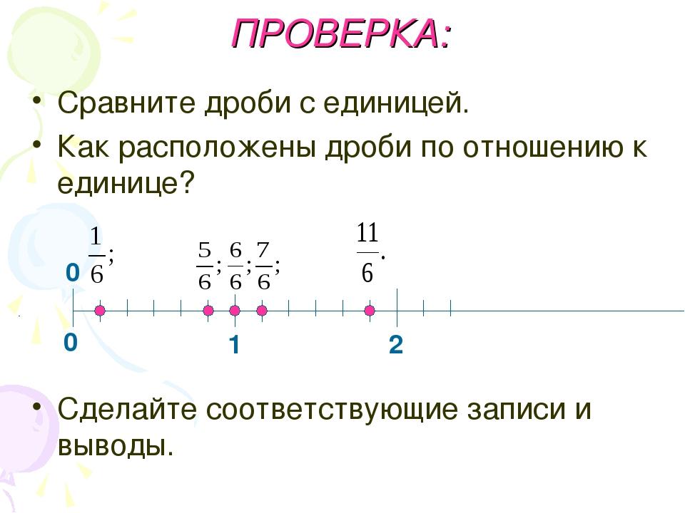ПРОВЕРКА: Сравните дроби с единицей. Как расположены дроби по отношению к еди...