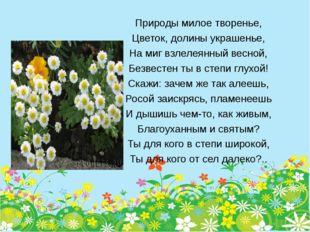 Природы милое творенье, Цветок, долины украшенье, На миг взлелеянный весной,