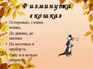 Физминутка «кошка» Осторожно, словно кошка, До дивана, до окошка На носочках