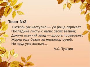 Текст №2 Октябрь уж наступил — уж роща отряхает Последние листы с нагих сво