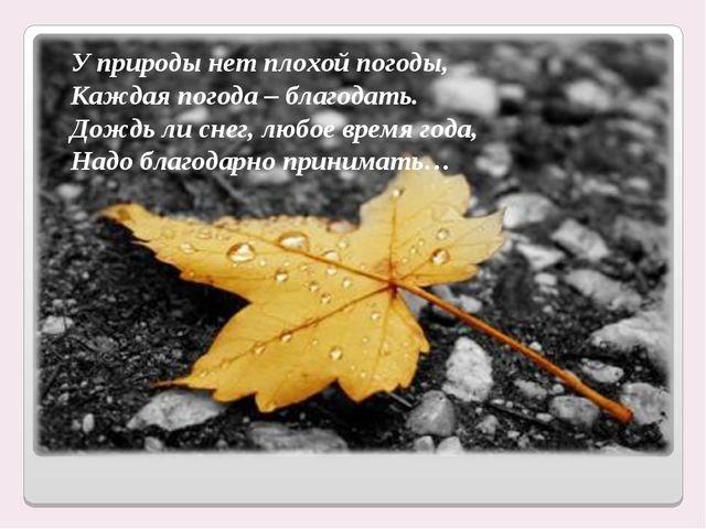 У природы нет плохой погоды, Каждая погода – благодать. Дождь ли снег, любое...