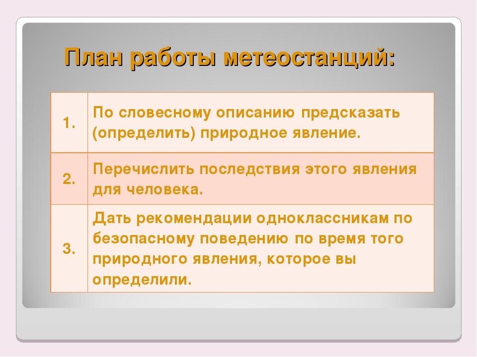 План работы метеостанций: 1.По словесному описанию предсказать (определить)...