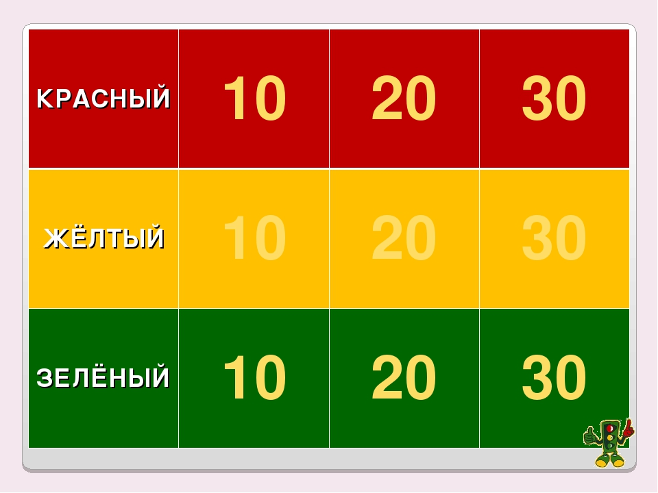 КРАСНЫЙ102030 ЖЁЛТЫЙ102030 ЗЕЛЁНЫЙ102030