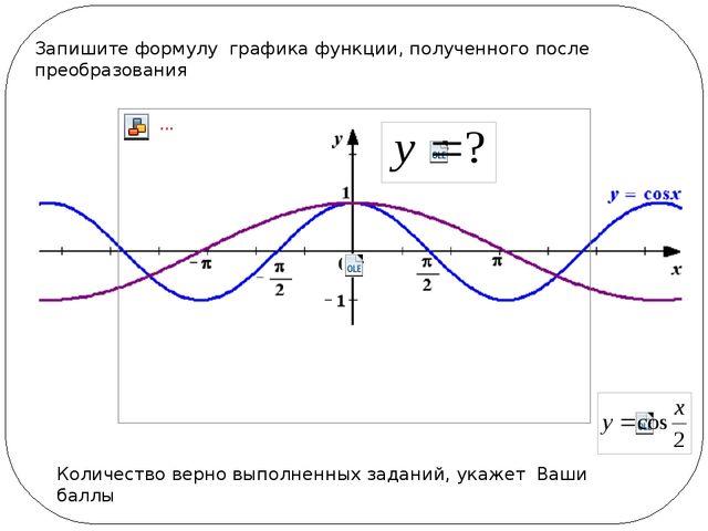 Запишите формулу графика функции, полученного после преобразования Количеств...