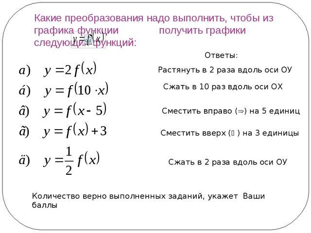 Какие преобразования надо выполнить, чтобы из графика функции получить график...
