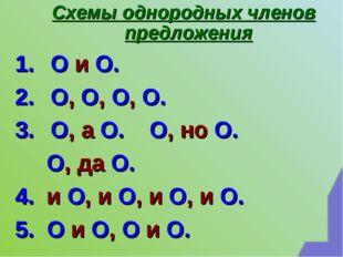 Схемы однородных членов предложения О и О. О, О, О, О. О, а О. О, но О. О, д