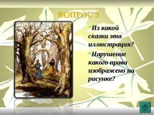 Из какой сказки эта иллюстрация? Нарушение какого права изображено на рисунке?