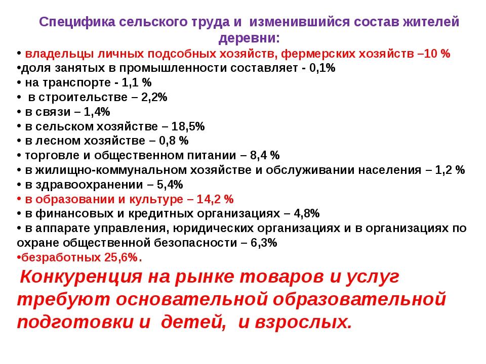 Специфика сельского труда и изменившийся состав жителей деревни: владельцы ли...