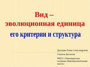 * Вид – эволюционная единица Дроздова Елена Александровна Учитель биологии МБ