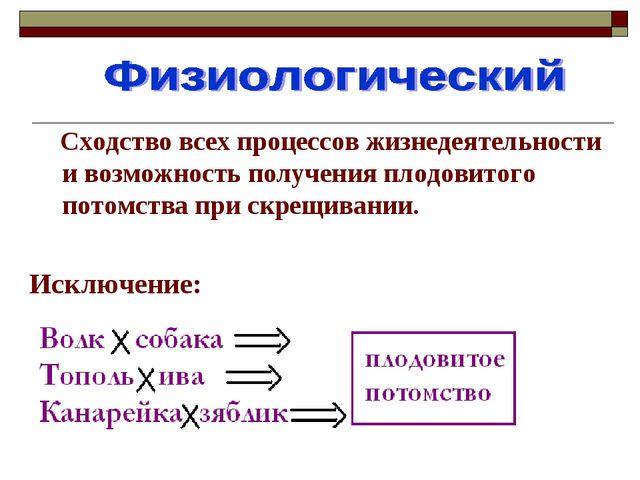 Сходство всех процессов жизнедеятельности и возможность получения плодовитог...