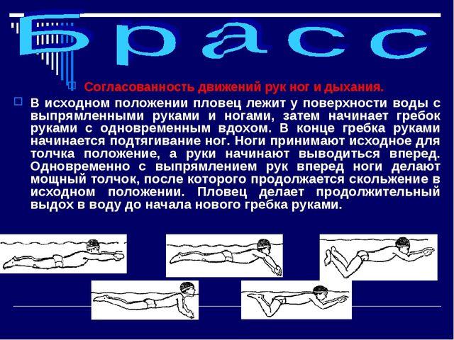 Согласованность движений рук ног и дыхания. В исходном положении пловец лежит...