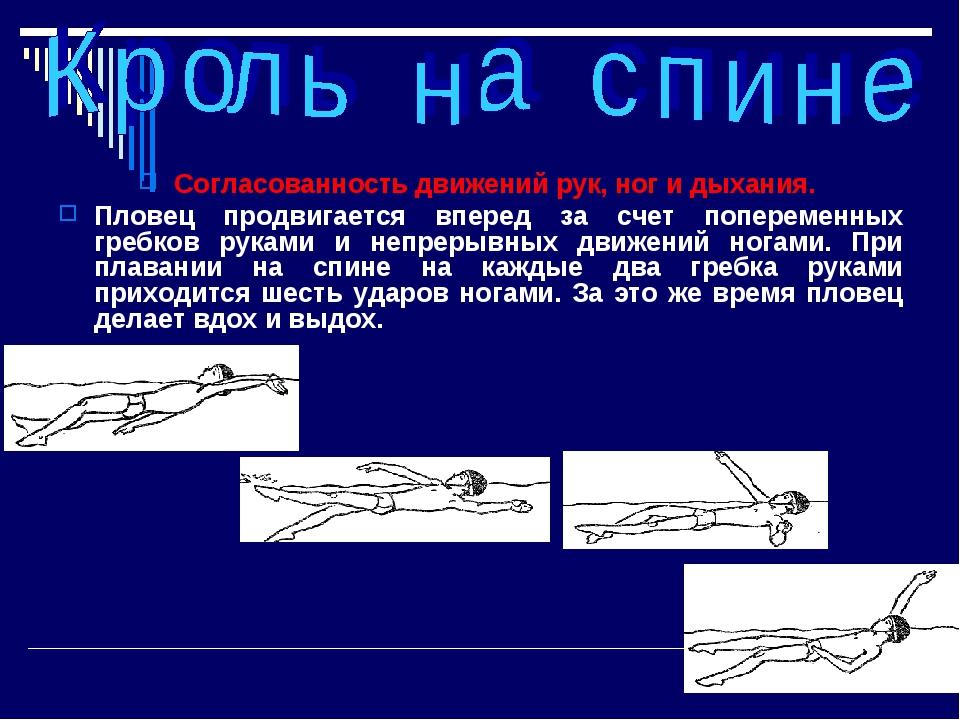 Согласованность движений рук, ног и дыхания. Пловец продвигается вперед за сч...
