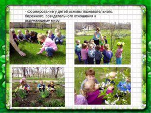 - формирование у детей основы познавательного, бережного, созидательного отн