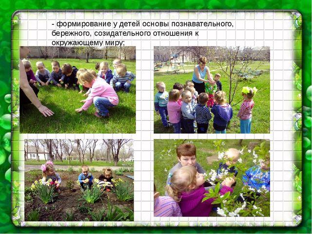 - формирование у детей основы познавательного, бережного, созидательного отн...