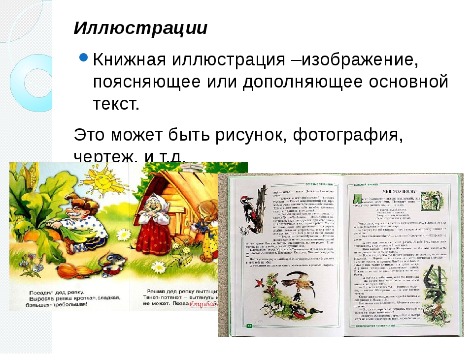 Иллюстрации Книжная иллюстрация –изображение, поясняющее или дополняющее осно...