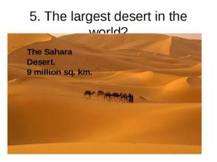 5. The largest desert in the world? The Sahara Desert. 9 million sq. km.
