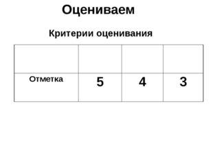 Оцениваем Критерии оценивания Количество ошибок Нет ошибок 1 ошибка 1 номер О
